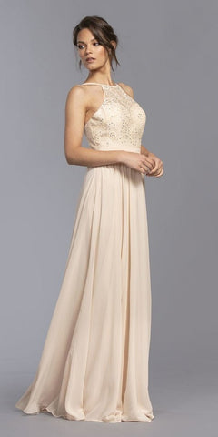 Halter A-Line Long Bridesmaids Dress Champagne