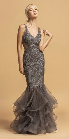 Tiered Mermaid Long Prom Dress Deep V-Neck Charcoal