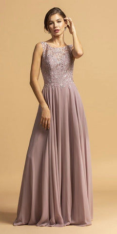 Embroidered A-Line Long Formal Dress Sleeveless Mauve