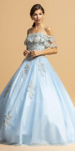 Cold-Shoulder Long Quinceanera Dress Sky Blue