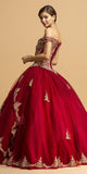 Burgundy Off-Shoulder Quinceanera Dress with Appliques