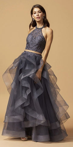A-Line Glitter Satin Deep V Neck Prom Gown Navy Floor Length