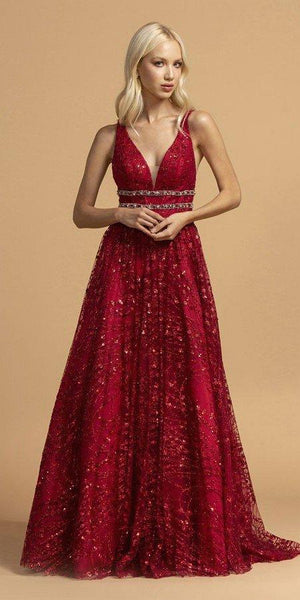 Aspeed USA L2149 Sleeveless A-Line Burgundy Prom Gown V Neckline Beaded Waist