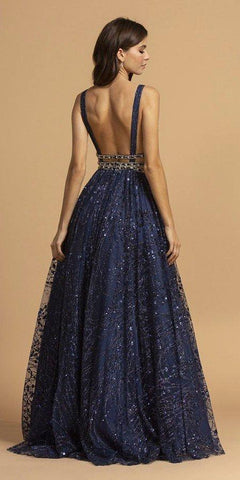 Aspeed USA L2149 Sleeveless A-Line Navy Blue Prom Gown V Neckline Beaded Waist