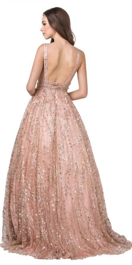 Aspeed USA L2149 Sleeveless A-Line Rose Gold Prom Gown V Neckline Beaded Waist