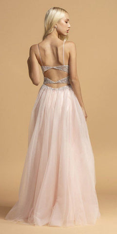 Blush Spaghetti Straps Long Prom Dress Cut-Out Back