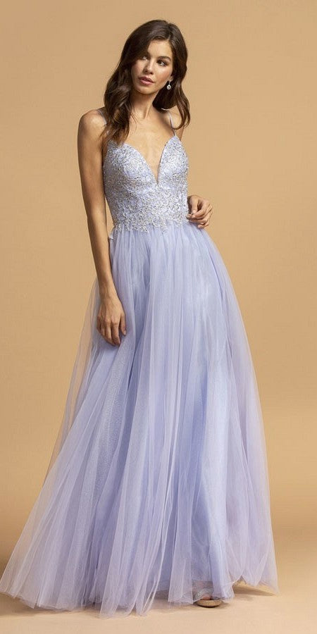 Pewter Spaghetti Straps Long Prom Dress Cut-Out Back