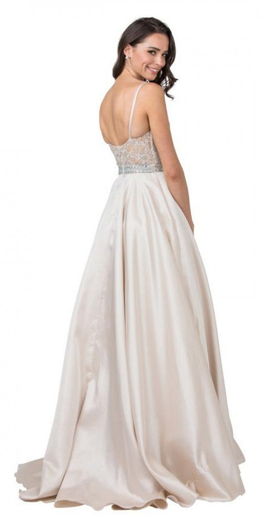 Aspeed Design L2151 Appliqued Bodice Long Prom Dress with Pockets Champagne