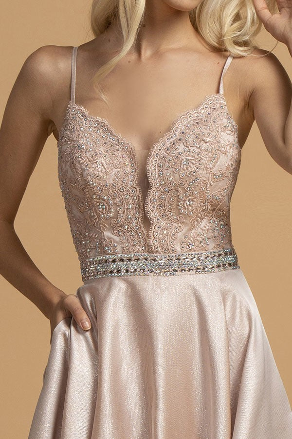 Appliqued Bodice Long Prom Dress with Pockets Blush