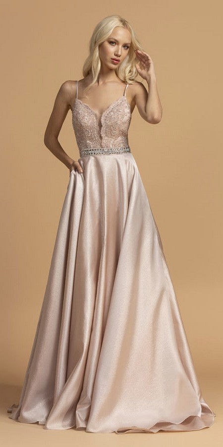 Aspeed USA L2151 Appliqued Bodice Long Prom Dress with Pockets Blush