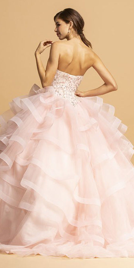 Blush Sweetheart Neckline Long Quinceanera Dress Strapless
