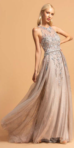 Aspeed L2155 Floor Length Embellished Bodice Formal Gown Blush/Silver
