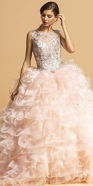 Embellished Bodice Blush Ruffled Quinceanera Gown