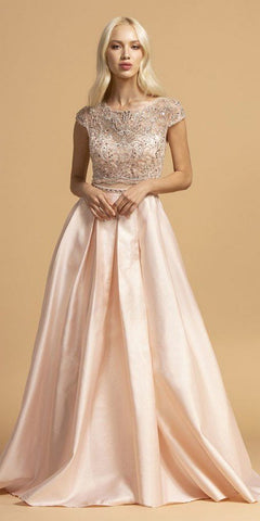 Short Sleeved Long Prom Dress Sheer Midriff Blush