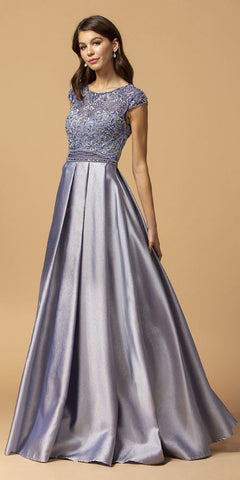 Royal Blue Long Formal Dress with Ruffled Cold-Shoulder