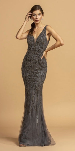 Bead Embellished Mermaid Long Prom Dress Charcoal