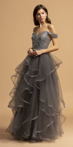 Cold-Shoulder Tiered Long Prom Dress Charcoal