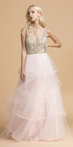 Blush Tiered Long Prom Dress V-Neck and Back