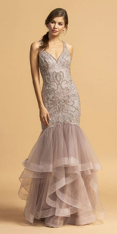 Embellished Mermaid Long Prom Dress V-Neck Mauve