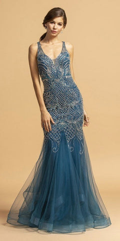 Beaded Long Mermaid Prom Dress V-Neck Teal