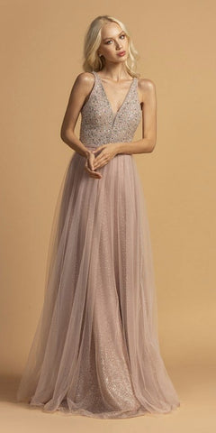 Long A-Line Tulle Prom Gown Lavender Lace Beaded Bodice Criss Cross Back