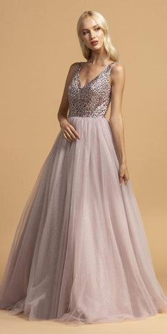 Beaded V-Neck Long Prom Dress Open-Back Mauve