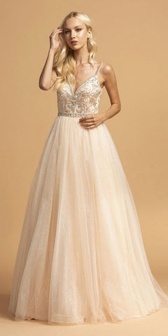 Long Beaded Prom Dress V-Neck and Back Champagne