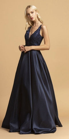 Aspeed L2168 Navy Blue Appliqued Bodice A-Line Long Prom Dress