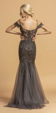 Cold-Shoulder Appliqued Long Prom Dress Charcoal