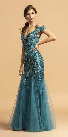 Cold-Shoulder Appliqued Long Prom Dress Teal