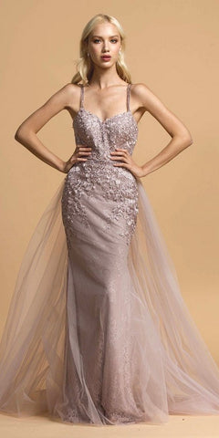 Long Criss-Cross Back Lace Prom Dress with Cape Skirt Mauve