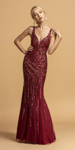 Burgundy Long Prom Dress with Sequin-Appliques