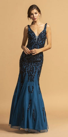 Teal Long Prom Dress with Sequin-Appliques