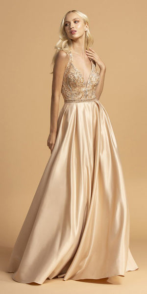 Champagne Criss-Cross Back Long Prom Dress with Pockets