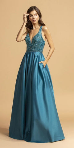 Teal Criss-Cross Back Long Prom Dress with Pockets
