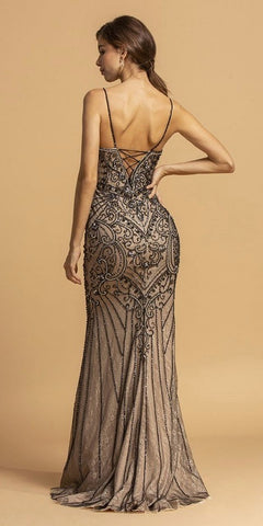 Black/Nude Beaded Long Prom Dress Lace-Up Back