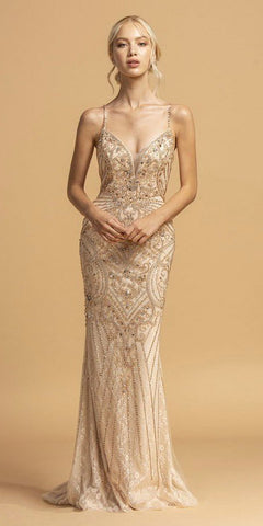 Fitted Embellished Lace Gown Gold Illusion Open Back V-Neckline