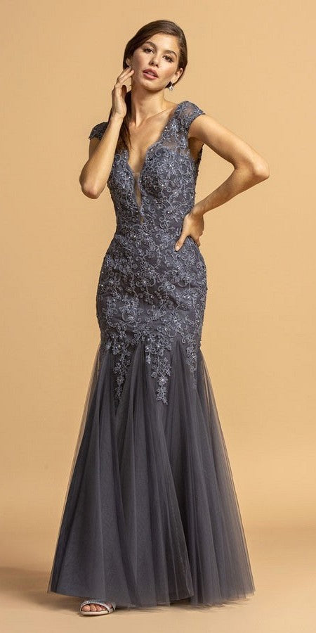 Cap Sleeved Charcoal Long Formal Dress with Appliques