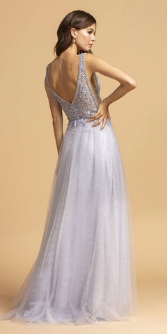 Pewter Deep V-Neck and Back A-Line Long Prom Dress