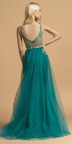 Appliqued Long Prom Dress with Cape Skirt Teal