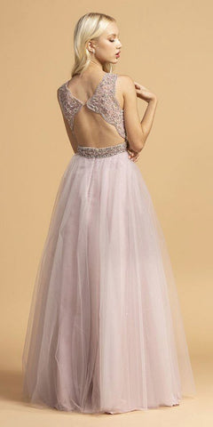 Cut-Out Back Beaded A-Line Long Prom Dress Mauve