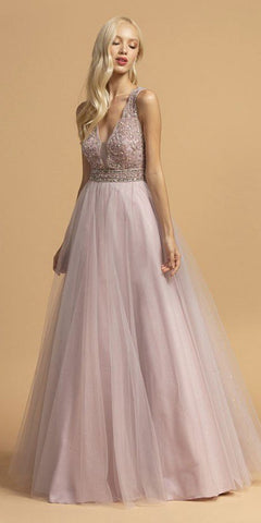 A-Line Short Dress Blush Glitter Tulle Jewel Lace Bodice