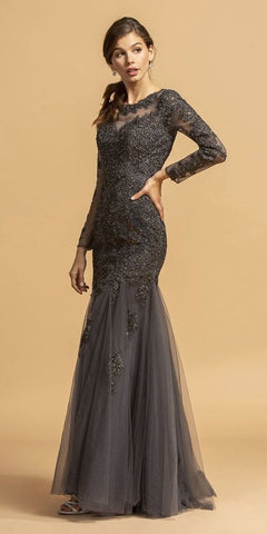 Charcoal Appliqued Long Formal Dress Long Sleeves