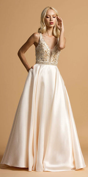 Beaded Long A-Line Prom Dress with Pockets Champagne