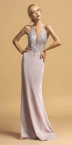 Mauve Long Prom Dress Appliqued with Spaghetti Straps