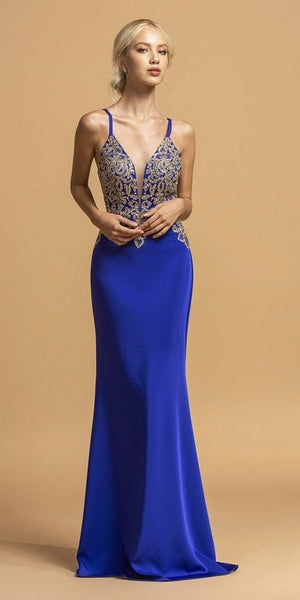 Sheer-Inset Appliqued Bodice Long Prom Dress Royal Blue