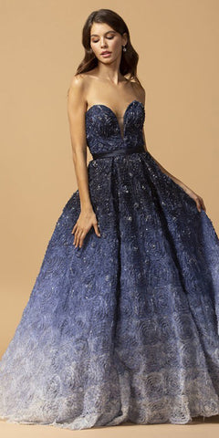Navy Blue Ombre Sweetheart Neckline Long Prom Dress