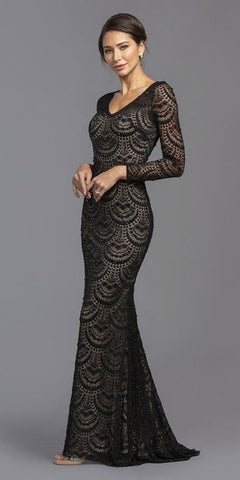 Black/Nude Long Sleeved Long Prom Dress Keyhole Back