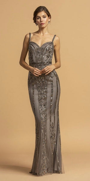 Gray Sweetheart Neck Long Embellished Prom Dress