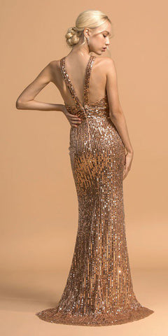Sequins Racer-Neck Rose Gold Long Prom Dress with Slit